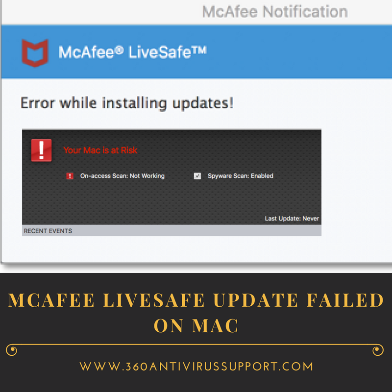 McAfee Livesafe update failed on mac