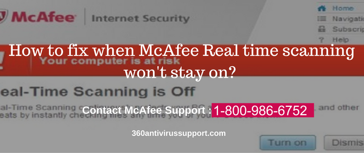 McAfee Real time scanning won't stay on